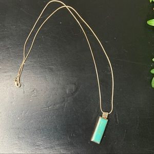 Sterling silver and turquoise bar necklace